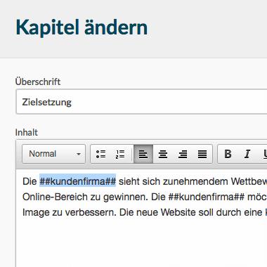Grip angebot text mit platzhalter variablen