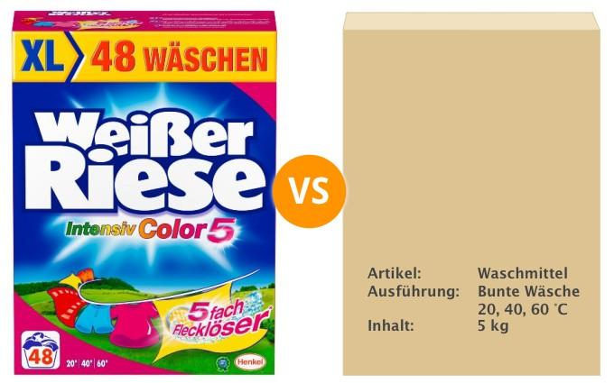 Produktverpackung als Angebot: visueller Vergleich zwischen einem erfolgreichen Markenwaschmittel und einer Pappschachtel mit den Inhaltseigenschaften