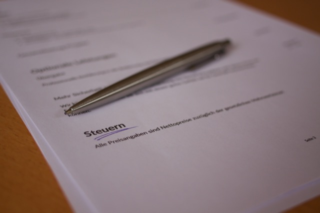 Steuer im schriftlichen Angebot