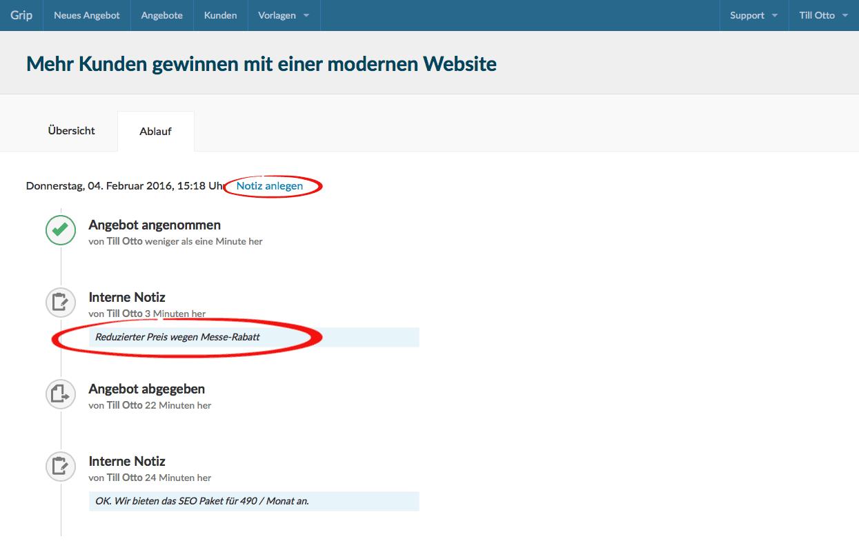 Screenshot Ablauf des Angebotsprozesses mit Statusänderungen und Notizen