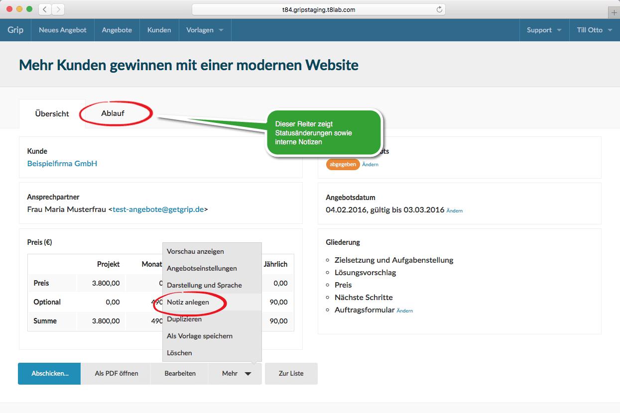 Screenshot Notiz anlegen in der Übersicht zum Angebot