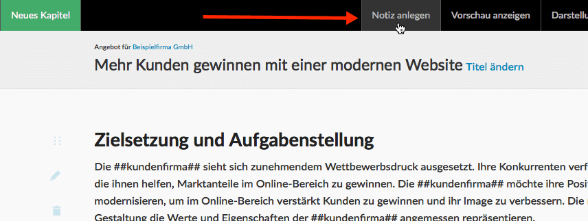 Screenshot Notiz anlegen im Angebotsdokument