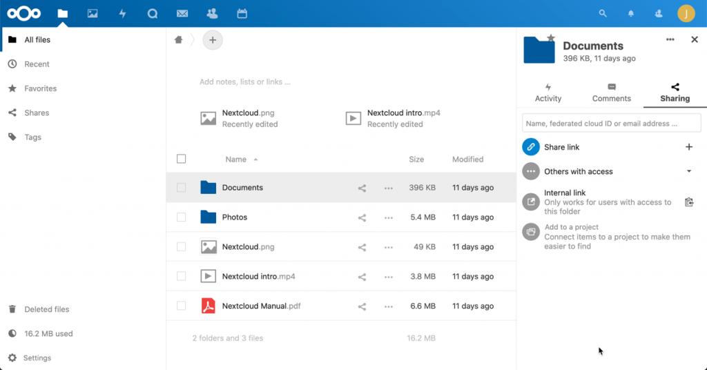 Screenshot einer Cloud-Storage für Dateien